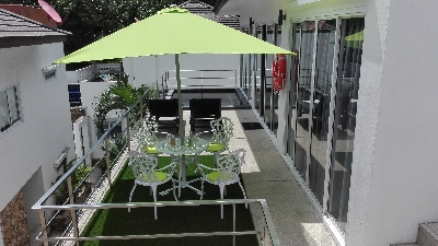 rent of the Villa Paris, to eat in the shade under the parasol on the terrace, that of pleasure in Chaweng, koh samui
