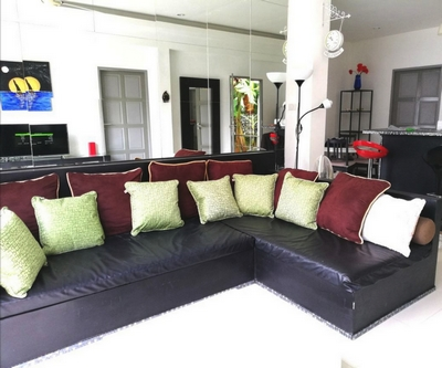 Villa Paris for rent with its corner sofa and large mirror in Chaweng, koh samui
