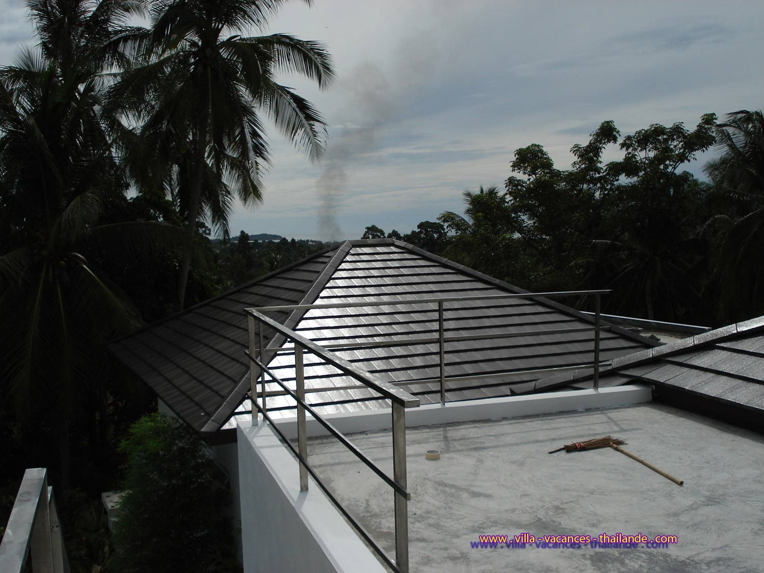 view from the roof terrace at the top of the house on the bay of Chaweng in Koh Samui